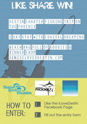 Give-away will launch October 6 from DeniseLovesDestin.com and iLoveDestin.com